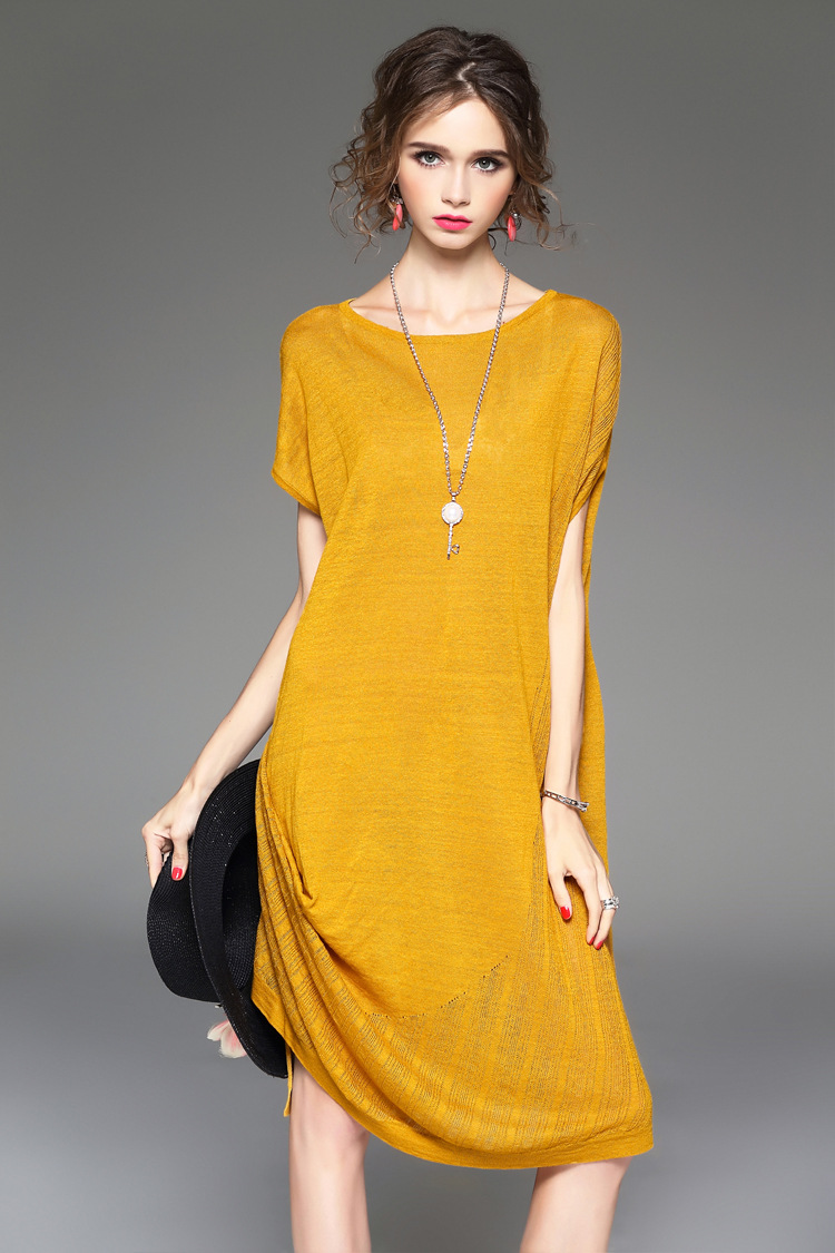 e5ab0b5a48 2017 Summer Spring Women Linen Loose Knitting Knitted Runway Midi Dress -YR725